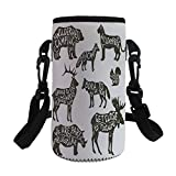 Small Water Bottle Sleeve Neoprene Bottle Cover,Cabin Decor,Animal Silhouettes with Lettering Camping Freedom Stay Wild Inspiration Decorative,Dark Brown White,Great for Stainless Steel and Plastic/Gl