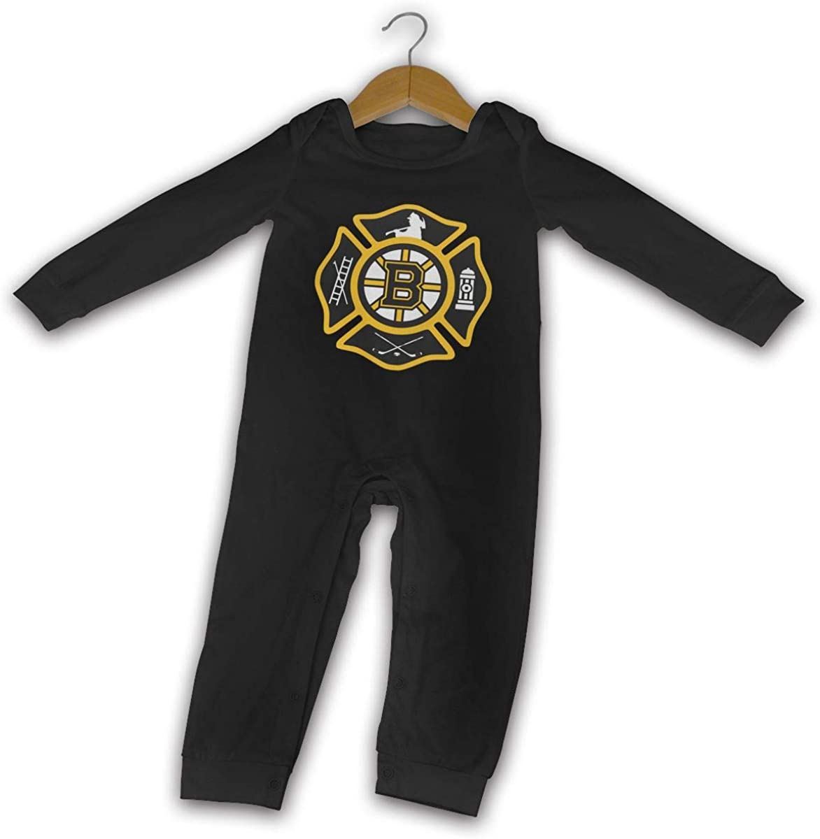YIRONJERING Bos-ton Fire Bru-ins Style Cotton Baby Long Sleeve Bodysuit