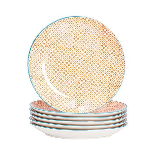Nicola Spring Diner borden met patroon – 255mm (10 inch) – Oranje Print Design – Doos Van 6