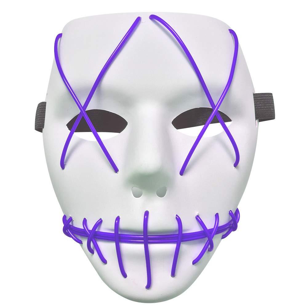 Zerodis ハロウィン発光マスク LEDグローELワイヤー ライトアップ コールドライトグリンマスク  パープル B07HG523QM