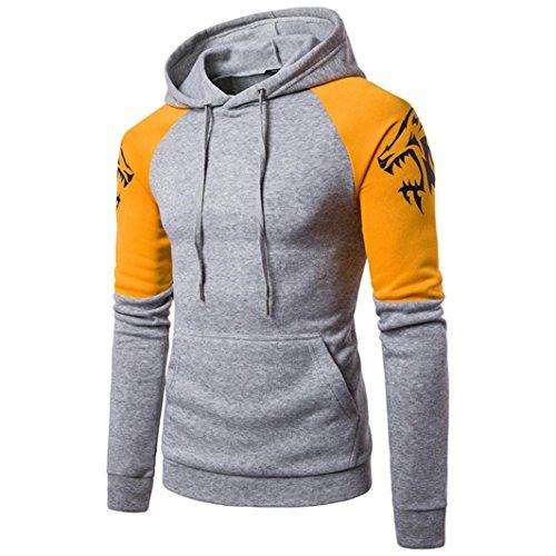 kaifongfu Men's Sweatshirt Tops, Long Sleeve Patchwork Hooded Sweatshirt Tops Jacket Coat Outwear (XXL, (Seersucker Patchwork)
