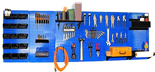 Wall Control 30-WRK-800 BUB Organizer 8' Pegboard Master Workbench Kit with Blue Tool Board and Black Pegboard Hooks by Wall Control (Image #7)