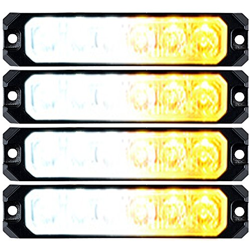 (4pcs Waterproof Car Truck Warning Caution Emergency SYNC Flashing Strobe Light Bar (6-LED 30W, White &)