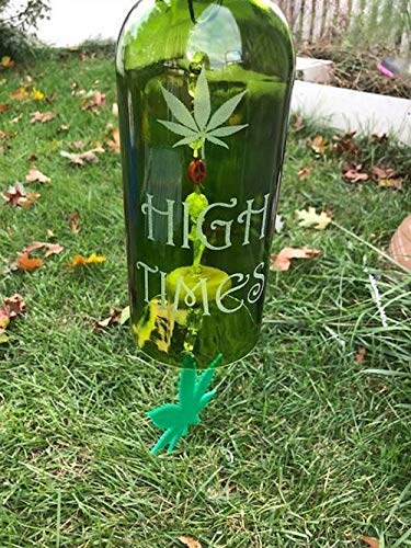Amazon com: Marijuana Wine Bottle Wind Chime: Handmade
