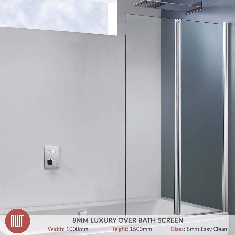 1000 mm (W) X 1500 Mm (H) con bisagras doble pivote de baño cuadrado y cromado marco de fotos para pared (8 mm vidrio de seguridad templado): Amazon.es: Hogar