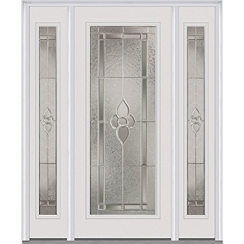 National Door Company Z014092L Fiberglass Smooth, Brilliant White, Left Hand In-swing, Exterior Prehung Door, Master Nouveau, Full Lite, 36'' x 80'' with 12'' Sidelites by National Door Company