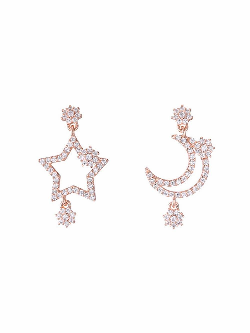 Ling Studs Earrings Hypoallergenic Cartilage Ear Piercing Simple Star Moon Asymmetric Stud Earrings Joker Short Zircon Earrings