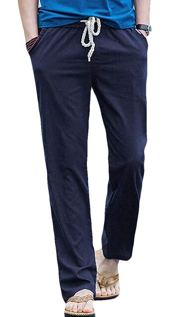 UUYUK Men Straight Leg Big /& Tall Loose-fit Cotton Linen Casual Casual Pants Trousers