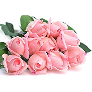 FiveSeasonStuff 10 Stems of Real Touch Silk Roses 'Petals Feel and Look like Fresh Roses' Artificial Flower Bouquet for Wedding Bridal Office Party Home Decor (Dark Pink) 1