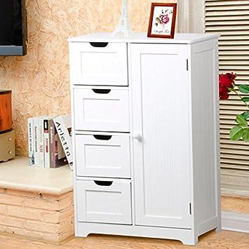 tinkertonk white wooden storage cabinet 4 drawers u0026 2 tier shelves cupboard organiser