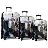 Rolite 3-Piece Lightweight Hardside Spinner Luggage Set, New York