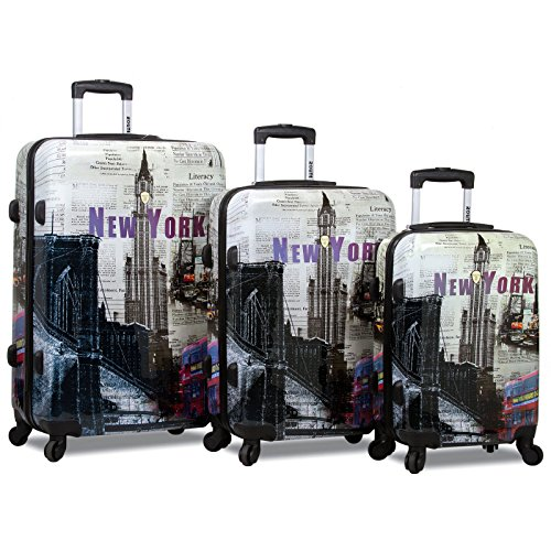 Rolite 3-Piece Lightweight Hardside Spinner Luggage Set, New York by Rolite Company
