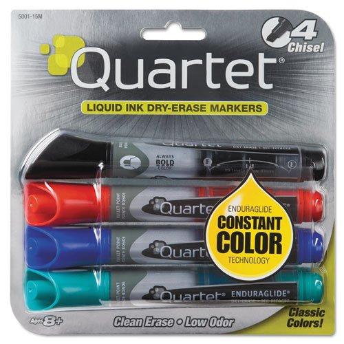 - Quartet Dry Erase Markers, EnduraGlide, Chisel Tip, BOLD COLOR, Assorted Colors, 4 Pack (5001M), 4 Packs