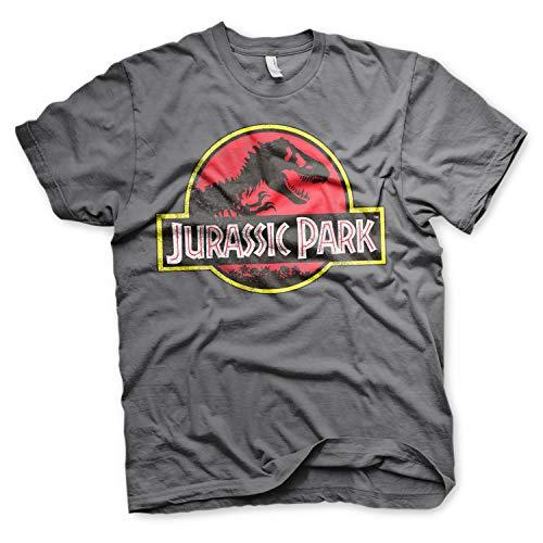 Originale Maglietta Grigio Ufficiale Logo shirt Maglia Jurassic Park T b7Y6fgy