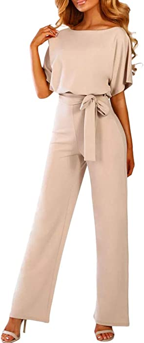 71211d2088f Sunyastor Womens Short Sleeve One Piece Jumpsuit Cocktail Romper Pant Suit  Clubwear Straight Leg Jumpsuit with