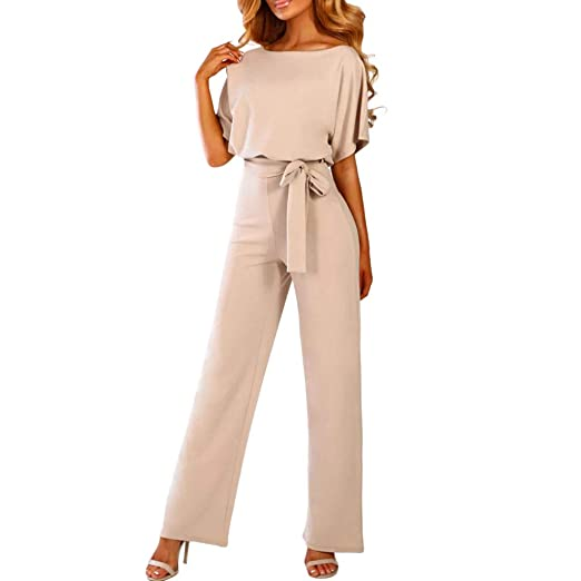 65419bce41a Women Short Sleeve Playsuit Clubwear Straight Leg Jumpsuit with Belt BG S  Beige