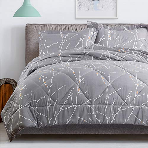 Bedsure Tree Branch Floral Comforter King Size Grey Down Alternative Comforter Microfiber Duvet 3 Piece (1 Comforter + 2 Pillow Shams)