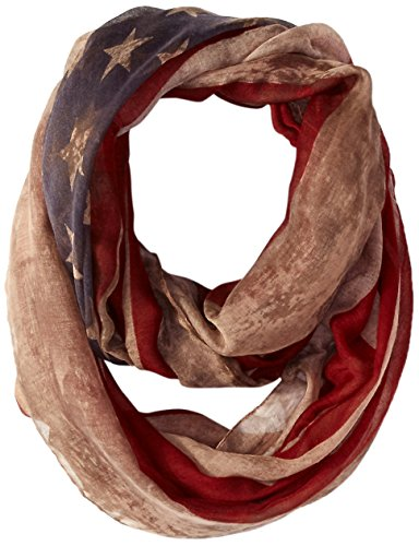 D&Y Women's Distressed American Flag Infinity Scarf, Brown, One Size (America Infinity Scarf)