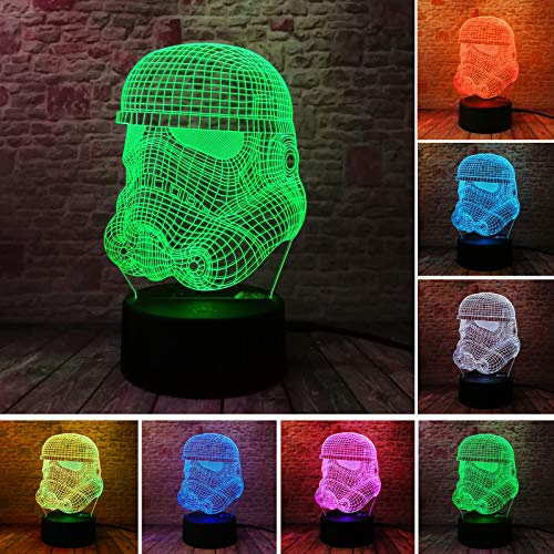 (Creative Star Wars Clone Force White Warrior Acrylic 3D Illusion Lamp Colorful Gradient Visual 3D LED nightlight Birthday Gifts)