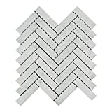 Carrara White Italian (Bianco Carrara) Marble 1 X 4 Herringbone Mosaic Tile, Honed
