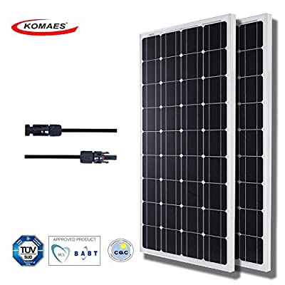 KOMAES SOLAR 200W Monocrystalline Solar Panel 12V Charger With MC4 Connector for deep cycle battery, Perfect for Residential, Industrial, RV, Boat, Camping, Off Grid Installation