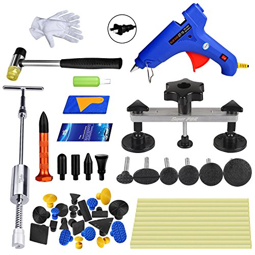 (Super PDR 41pcs Car Auto Body Dent Puller Removal Repair Tool Kit Dent Lifter Bridge Puller Set for Car Hail Damage and Door Dings Repair)
