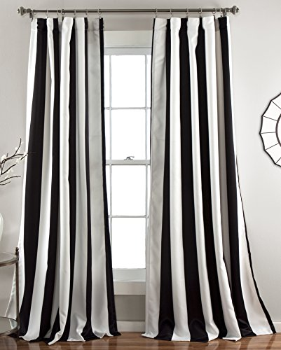 Satin Curtain Velvet - Lush Decor Wilbur Room Darkening Striped Window Panel Curtains Set (Pair), 84