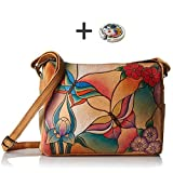 Anuschka Shoulder Handbag - Hand Painted Design on Real Leather - Free Purse Holder (Twin Top Butterfly Glass Painting)