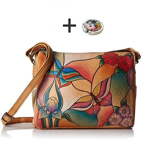 Anna by Anuschka Shoulder Handbag - Hand Painted Design on Real Leather - Free Purse Holder (Twin Top Butterfly Glass Painting) by Anna by Anuschka