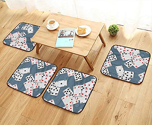 Printsonne Universal Chair Cushions Abstract Background with Playing Cards Metroitan Tourist Attractis Personalized Durable W15.5 x L15.5/4PCS Set