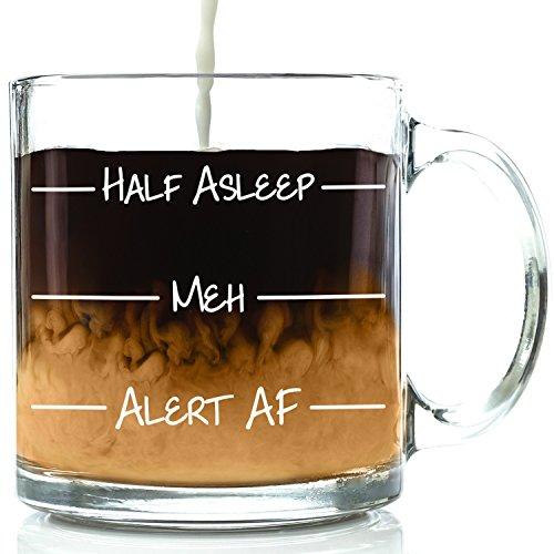 Half Asleep Funny Glass Coffee Mug - Best Birthday Gift For Men & Women - Fun & Unique Office Cup - Novelty Present Idea For Friends, Mom, Dad, Husband, Wife, Boyfriend, Girlfriend, Coworkers - 13 oz