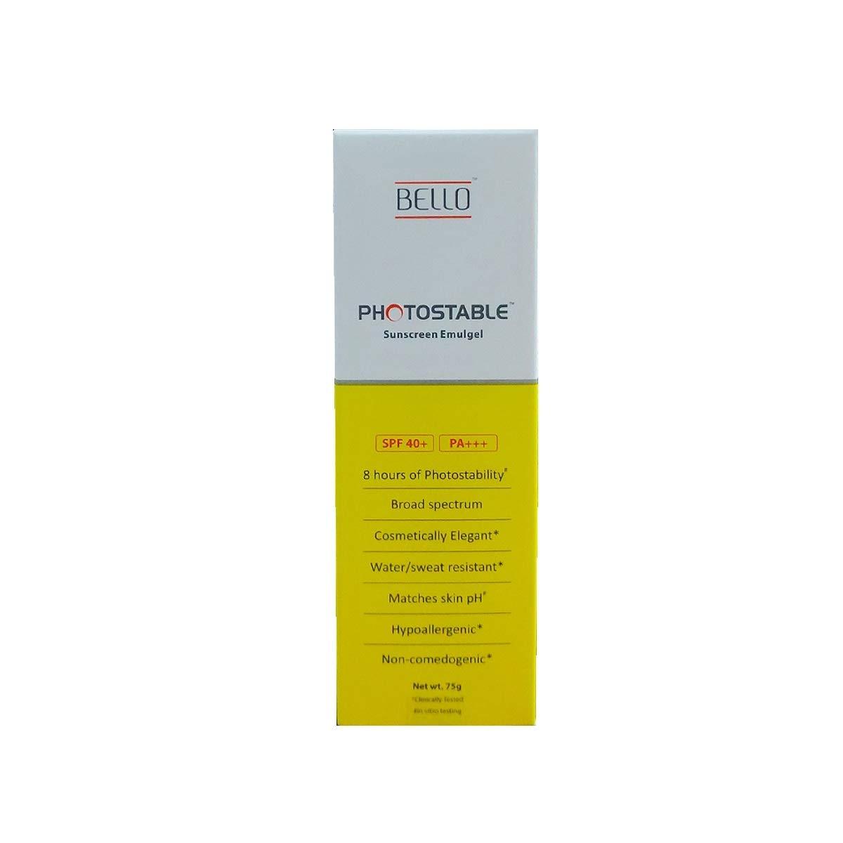 photo stable Bello SPF 40+ Pa+++ Sunscreen Gel (75 g)
