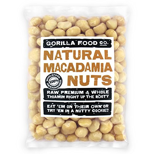 Gorilla Food Co. Raw Macadamia Nuts Whole Unsalted (Style 1) - 1 Pound Resealable Bag