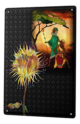 (Tin Sign XXL Plants African shaman mask)