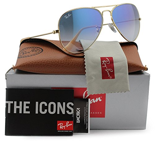 Ray-Ban RB3025 Aviator Sunglasses Arista Gold w/Blue Gradient (001/3F) 3025 58mm Authentic ()