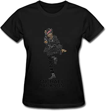Duanfu Michael Jackson Letter Women's Cotton Short Sleeve T-Shirt