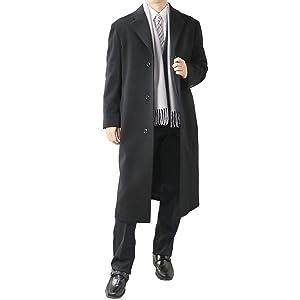 カシミヤ コート チェスターコート ビジネス カシミヤブレンド ウール混 黒 ブラック 418351 【1】黒 L