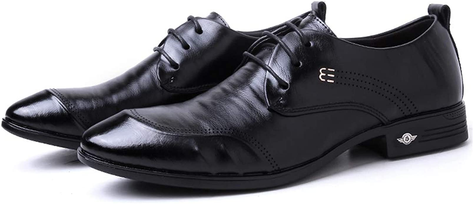 Hilotu Mens Oxford Dress Shoes Casual Style Grid Lines Comfortable and Low Top Formal Business Shoes