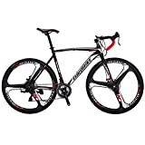 Cheap EUROBIKE Road Bike EURXC550 21 Speed 54 cm Frame 700C 3-Spoke Wheels Road Bicycle Dual Disc Brake Bicycle Blackwhite