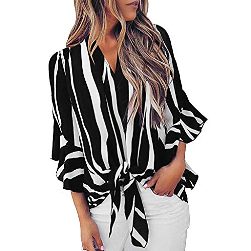 WEISUN Women Striped Blouses Summer V-Neck Bell Sleeve Shirt Tie Knot Plus Size Casual Blouses Tops Black