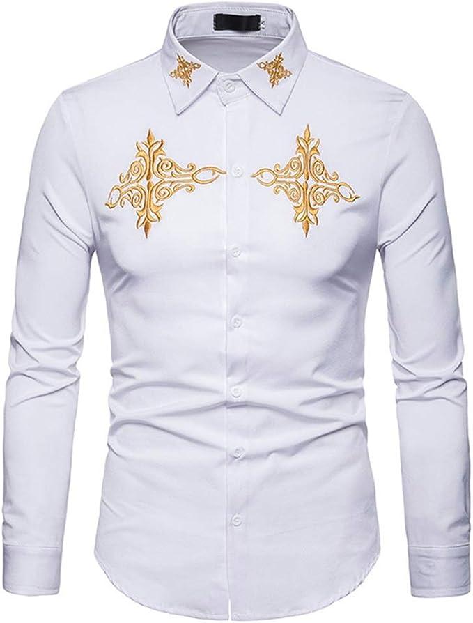 Camisas para hombre Hombres Hipster bordado de oro Slim Fit Tops cuello de solapa manga larga con botones abajo camisa de caballero Elegante camisa de vestir (Color : Blanco , tamaño :