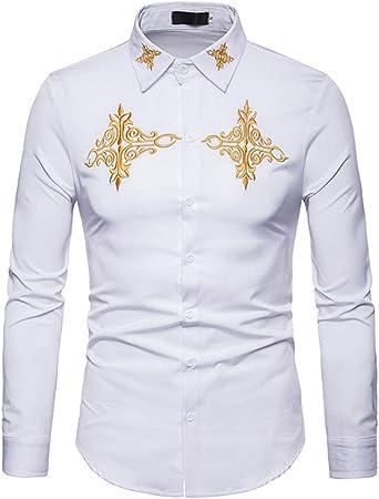 Camisas para hombre Hombres Hipster bordado de oro Slim Fit Tops cuello de solapa manga larga