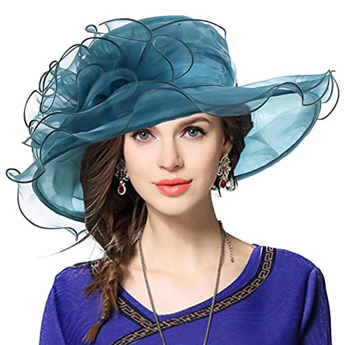 Women Church Derby Hat Wide Brim Wedding Dress Hat Tea Party HAT S019 (Emerald) (Women Sunday Dresses)