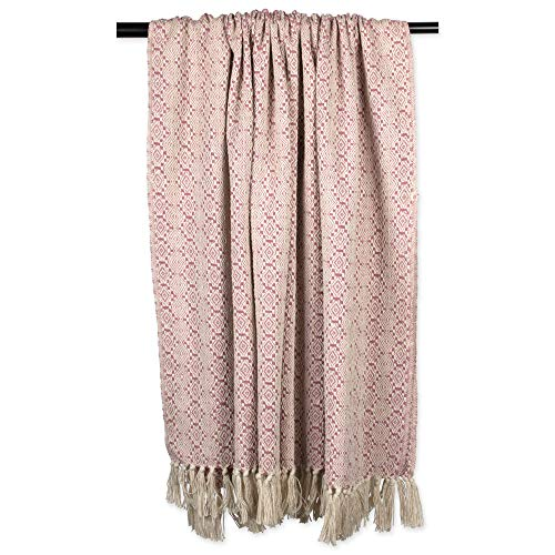 DII Rustic Farmhouse Cotton Diamond Patterned Blanket Throw with Fringe For Chair, Couch, Picnic, Camping, Beach, & Everyday Use , 50 x 60 - Rose Diamond Stitch