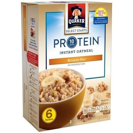 Quaker Instant Oatmeal Protein Banana Nut Flavor 6 Count, 12.9oz Box (Pack of 2)