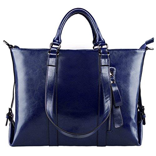 S-ZONE 3-Way Women Genuine Leather Shoulder Bag Work Tote Handbag (Leather Laptop Tote Handbag Bag)