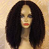 ALYSSA Hair Kinky Curly Full Lace Wig Natural Hairline Unprocessed Virgin Brazilian Human Hair Wigs For Black Women 10in #1b For Sale