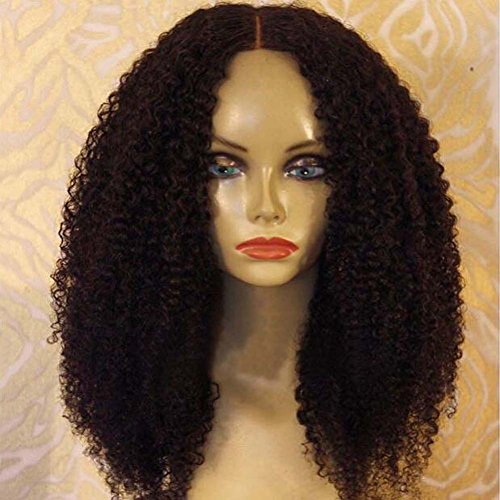 ALYSSA Hair Brazilian Virgin Human Hair Lace Front Wigs With Baby Hair 150% Density Afro Kinky Curly Glueless Lace Wig For Black Women (14in #1b) by Alyssa