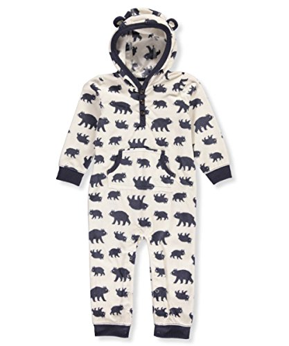 Carter's Baby Boy's Hooded Bear Print Fleece Jumpsuit 18 Months (Carters Hooded Jumpsuit)