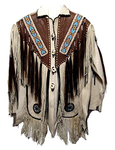 Fringed Mens Jacket - Classyak Men's Western Fringed, Beaded and Bones Leather Jacket Cow White Small